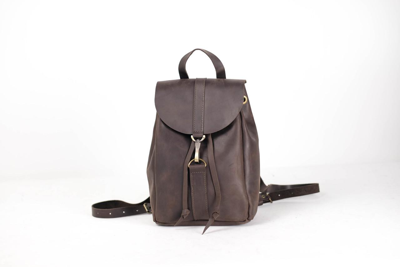 Кожаный рюкзак на затяжках с карабином, размер мини Винтажная кожа цвет Шоколад