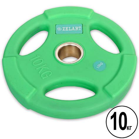 Блины (диски) полиуретановые с хватом и металлической втулкой d-50мм Zelart TA-5336-50-10 10кг (мятный), фото 2