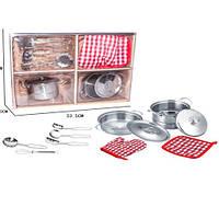 Посуда YH2018-3C кастрюли, кухонный набор, металл, прихватки, в кор-ке, 34-26-10см
