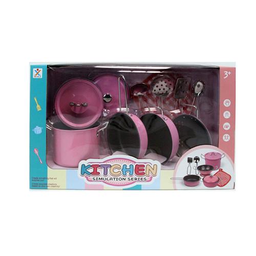 Посуда 988-A2  кастрюли, сковородка,дуршлаг,кухон.набор, металл,в кор-ке,37-11,5-21,5см