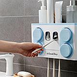 Многофункциональный держатель зубных щеток с дозатором для пасты, настенный, фото 4