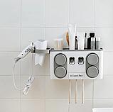 Многофункциональный держатель зубных щеток с дозатором для пасты, настенный, фото 8