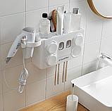 Многофункциональный держатель зубных щеток с дозатором для пасты, настенный, фото 9