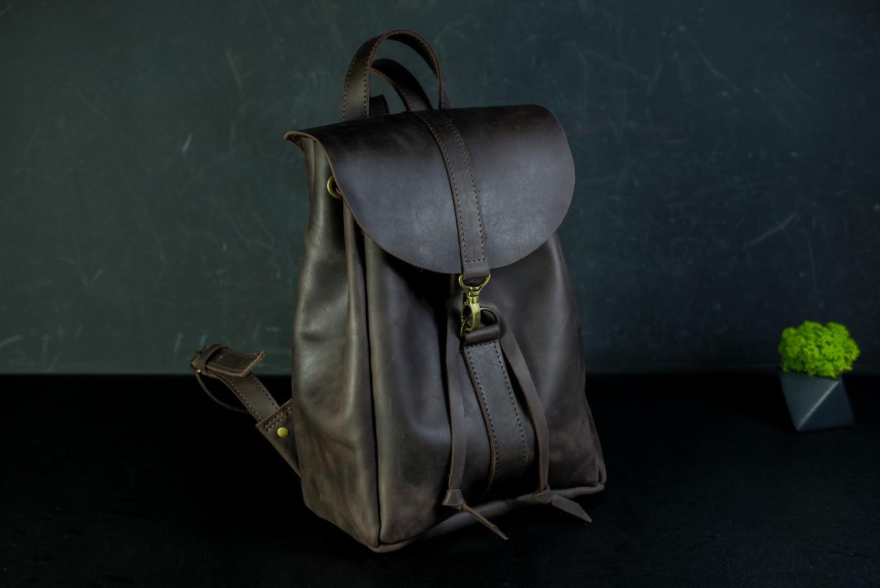 Кожаный рюкзак на затяжках с карабином, размер средний Винтажная кожа цвет Шоколад