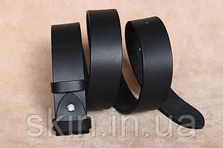 Классический гладкий ремень без пряжки, ширина - 38 мм, цвет - черный, артикул СК 9026 чер.