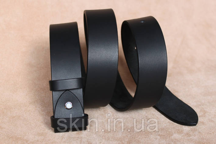 Классический гладкий ремень без пряжки, ширина - 38 мм, цвет - черный, артикул СК 9026 чер., фото 2