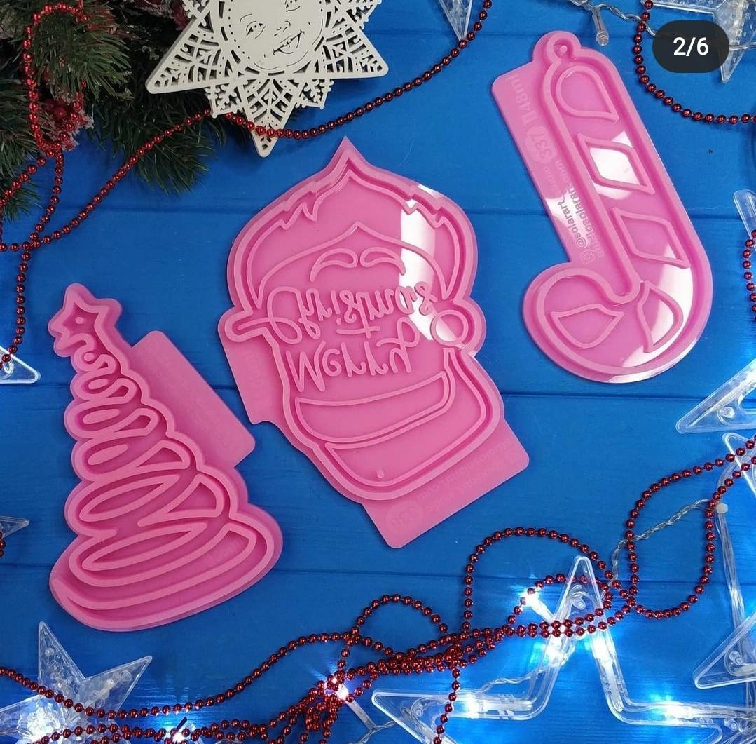 """Молд """"Рождество"""". Вид на выбор, для заливки смолы, гипса, пластика, шоколада и тд. Пищевой силикон,1шт. Месяц"""