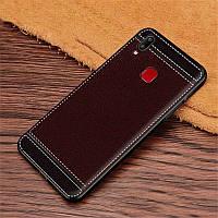 Чехол Fiji Litchi для Vivo Y1S (со сканером отпечатка) силикон бампер с рифленой текстурой темно-коричневый