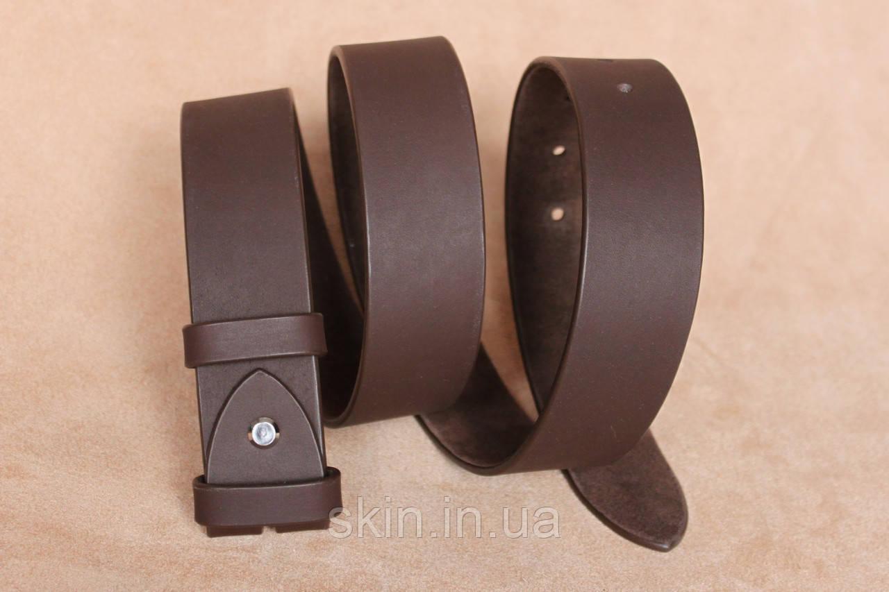 Классический гладкий ремень без пряжки, ширина - 38 мм, цвет - коричневый, артикул СК 9026 кор.