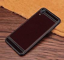 Чехол Fiji Litchi для Vivo Y1S (без сканера отпечатка) силикон бампер с рифленой текстурой темно-коричневый