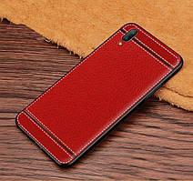 Чехол Fiji Litchi для Vivo Y1S (без сканера отпечатка) силикон бампер с рифленой текстурой красный