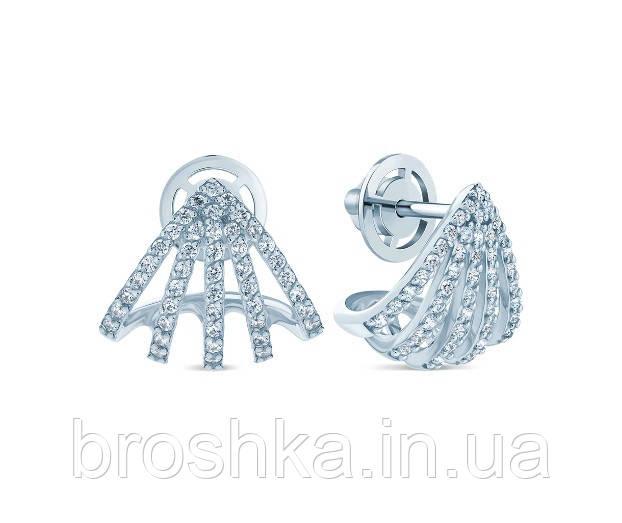 Крупные серебряные серьги с винтовой застежкой