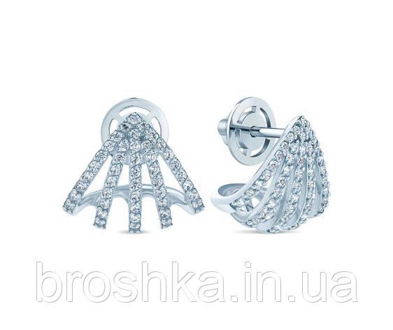 Крупные серебряные серьги с винтовой застежкой, фото 2