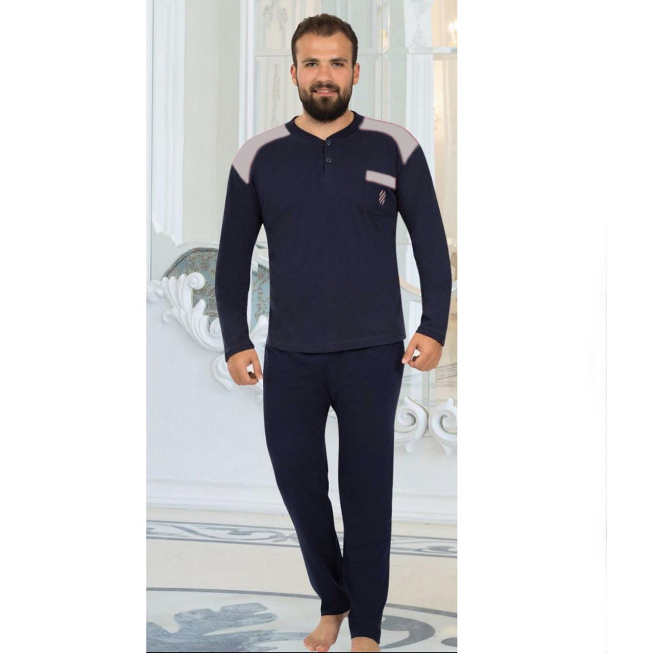 Пижама мужская хлопковая синяя с брюками Rimoli Турция M-XL, костюм для дома