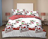 Новогоднее постельное белье евро размер из ранфорса Merry Christmas R840