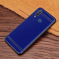 Чехол Fiji Litchi для Vivo Y15 силикон бампер с рифленой текстурой синий