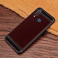 Чехол Fiji Litchi для Vivo Y15 силикон бампер с рифленой текстурой темно-коричневый