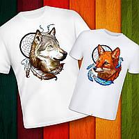"""Парные футболки с принтом """"Волк и Лиса"""" Push IT"""