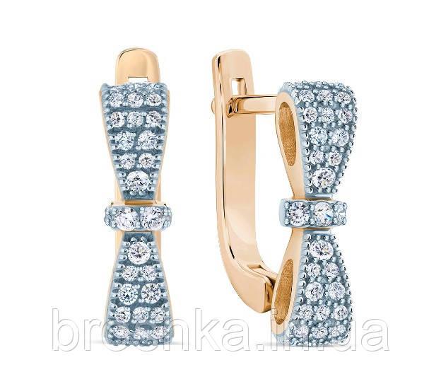 Позолоченные серебряные серьги бантики с английским замком