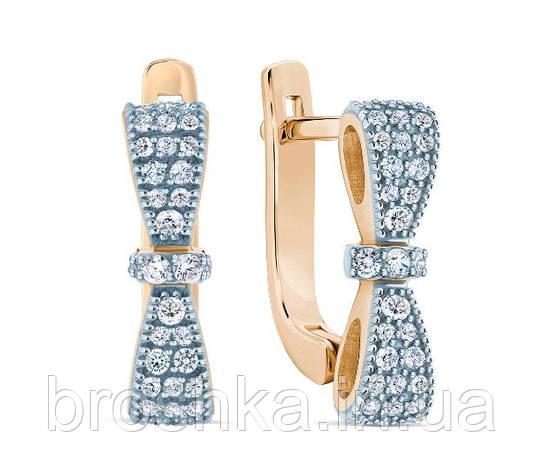 Позолоченные серебряные серьги бантики с английским замком, фото 2