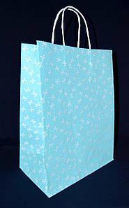 """Пакет бумажный с прямоугольным дном 335х260х140 мм. крафт белый, 70 г/м2 """"Бантик голубой"""" 50 шт/уп"""