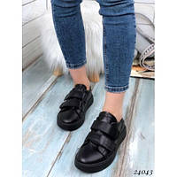 Кроссовки черные на двух липучках. Натуральная кожа, фото 1