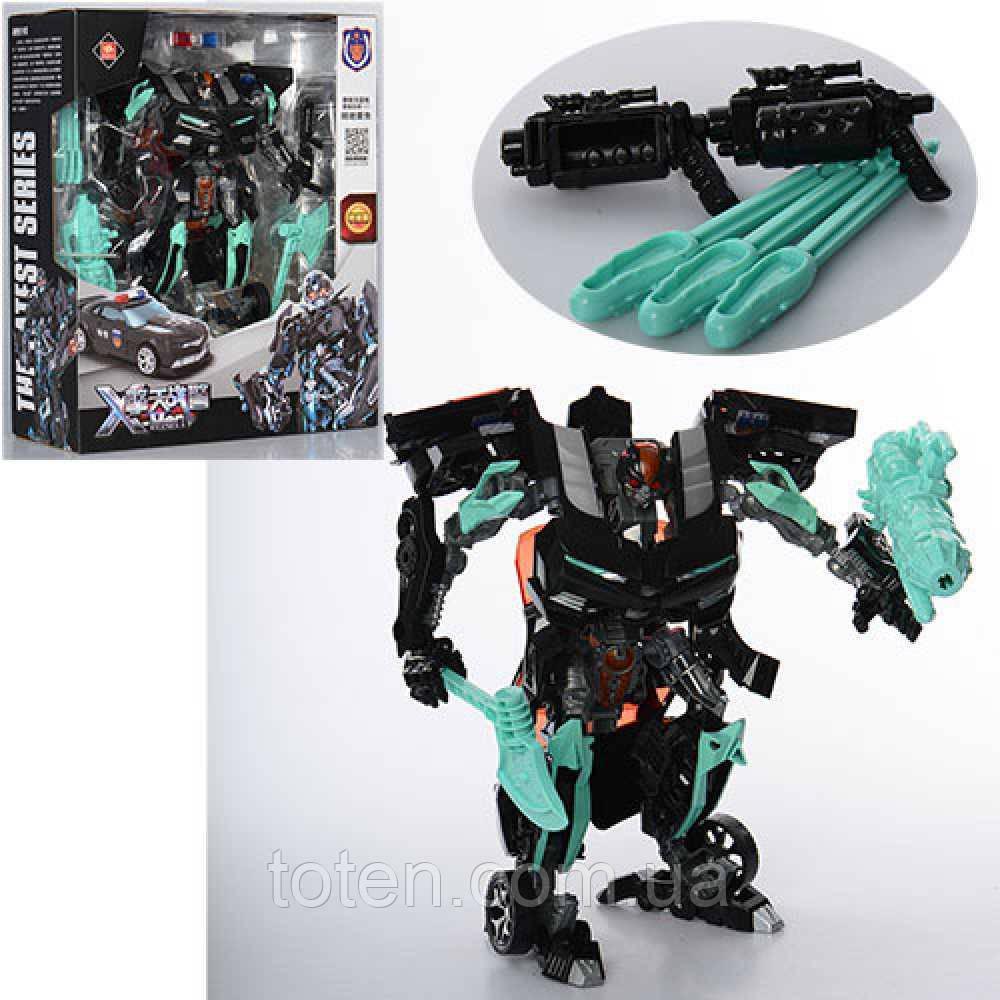 Трансформер Боевой Черный 23 см  «Полицейский» 8820A, робот-машинка, оружие