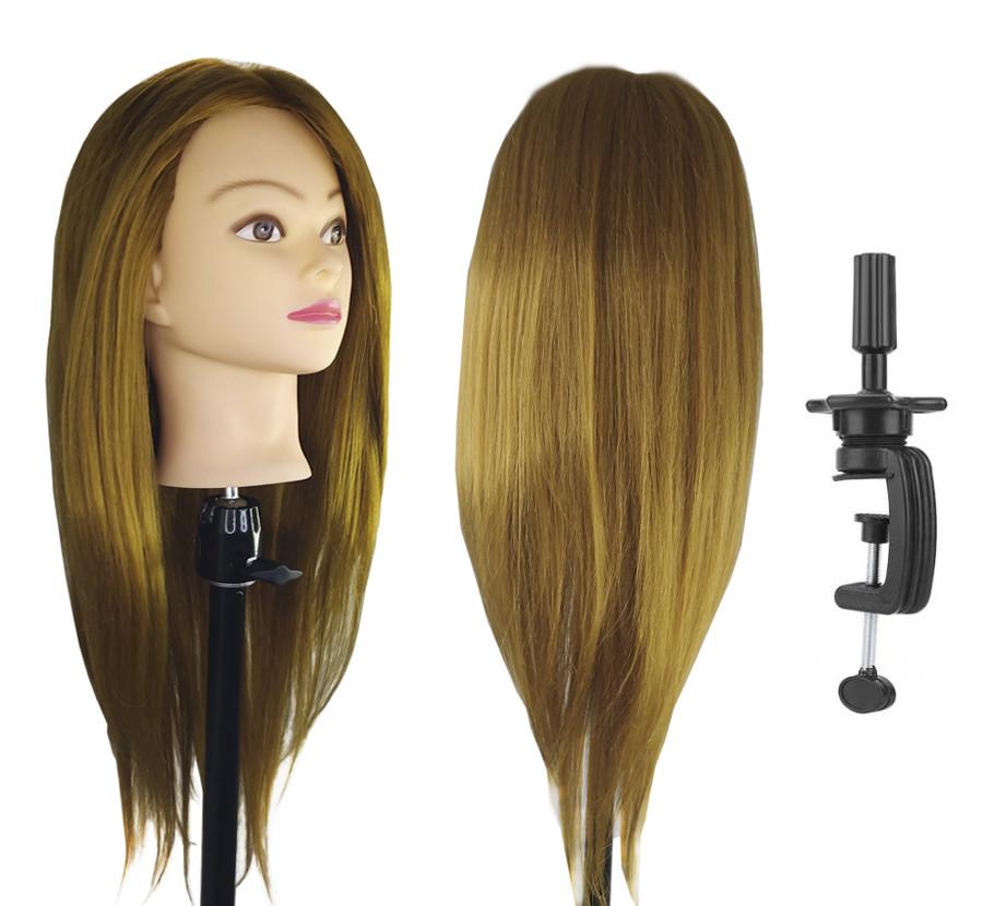 Голова для причесок с натуральными русыми волосами (не мене 90%)
