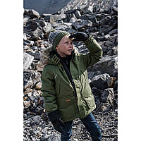 Зимний пуховик, куртка Reima Serkku, парка, размер 152, хаки