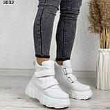 Женские спортивные ботинки - кроссовки ЗИМА / зимние  белые эко кожа, фото 2