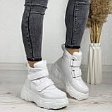 Женские спортивные ботинки - кроссовки ЗИМА / зимние  белые эко кожа, фото 3