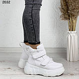 Женские спортивные ботинки - кроссовки ЗИМА / зимние  белые эко кожа, фото 5
