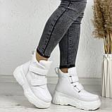 Женские спортивные ботинки - кроссовки ЗИМА / зимние  белые эко кожа, фото 7