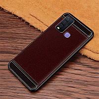 Чехол Fiji Litchi для Vivo Y30 силикон бампер с рифленой текстурой темно-коричневый