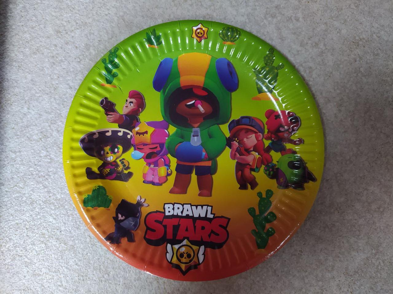Паперова тарілка кольоровий принт Brawl Stars 18см упаковка 5шт.
