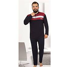 Пижама мужская хлопковая синяя с брюками NewYork Турция M-2XL, костюм для дома