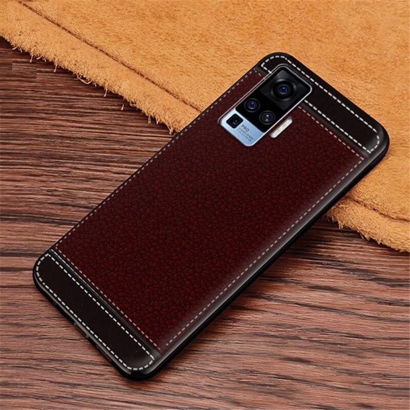 Чохол Fiji Litchi для Vivo X50 Pro силікон бампер з рельєфною текстурою темно-коричневий