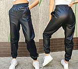 """Утепленные кожаные штаны на флисе """"Маркус""""  Батал, фото 5"""
