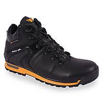 Кожаные ботинки ( зимние, черные, теплые, мужские, спортивные, на меху, на шнуровку)