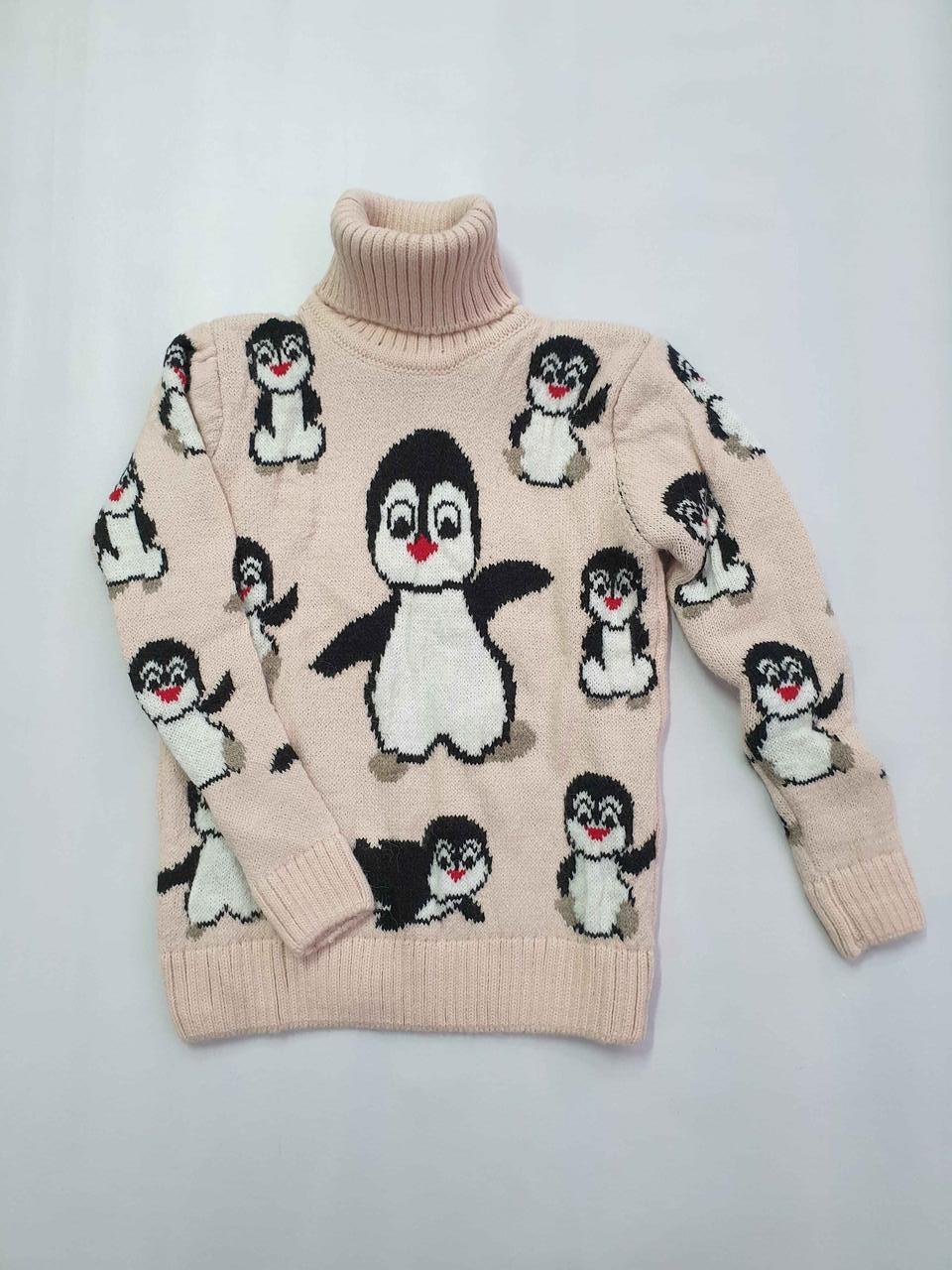 Новогодний свитер на девочек 2-6 лет Пингвины персиковый