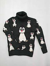 Новогодний свитер на девочек 2-6 лет Пингвины персиковый, фото 3