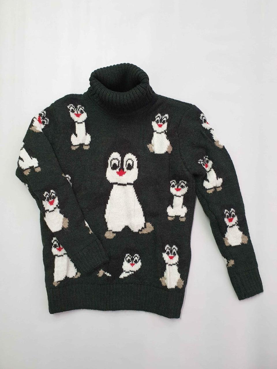 Новогодний свитер на девочек 2-6 лет Пингвины изумрудный