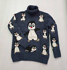 Новогодний свитер на девочек 2-6 лет Пингвины изумрудный, фото 2