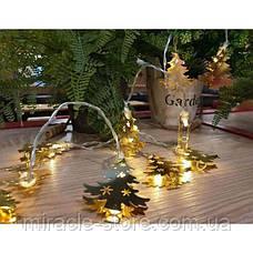 Новогодняя гирлянда елочки золотая 20 Led 3 метра на батарейках, фото 3