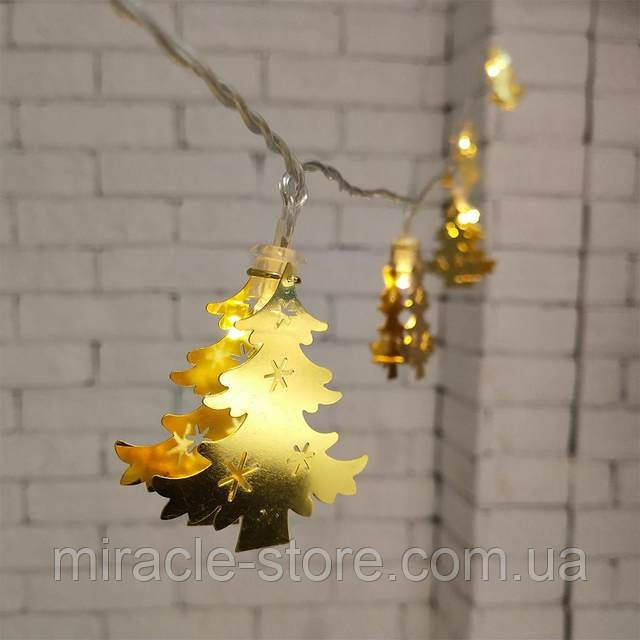 Новогодняя гирлянда елочки золотая 20 Led 3 метра на батарейках