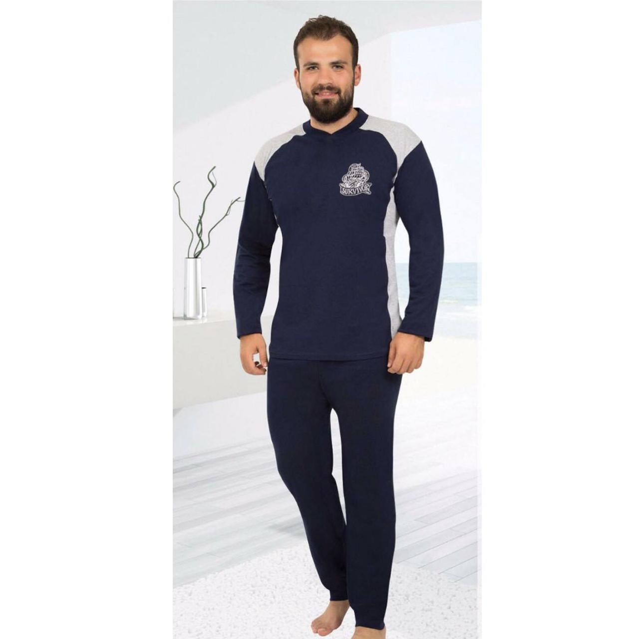 Пижама мужская хлопковая синяя с брюками Турция M-2XL, костюм для дома