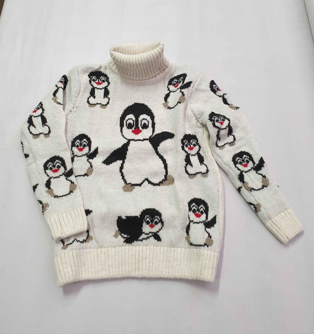 Новогодний белый свитер на девочек 2-6 лет Пингвины