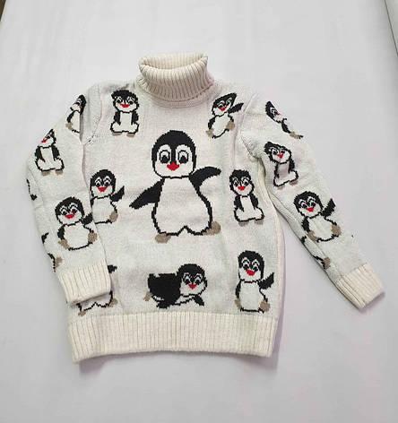 Новогодний белый свитер на девочек 2-6 лет Пингвины, фото 2