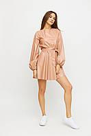 Женское пудровое короткое платье с эко-кожи с длинными рукавами Беверли, размер S