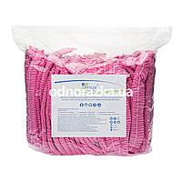 Одноразовые шапочки, Polix, 100 шт, розовые, на одинарной резинке